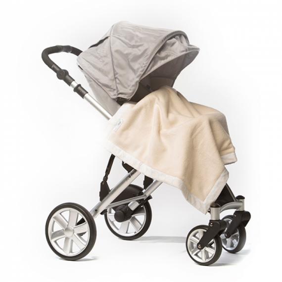 Плед для новорожденного Organic Stroller Blanket Ivory w/PB Mod C