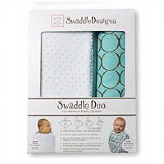 Наборы пеленок SwaddleDesigns Swaddle Duo Polka Dot URB + Mocha Mod Circles MSB