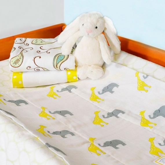 Полотенчики SwaddleDesigns Baby Burpie Set Yellow Sterling Deco Elephants on Sunwashed Pastels