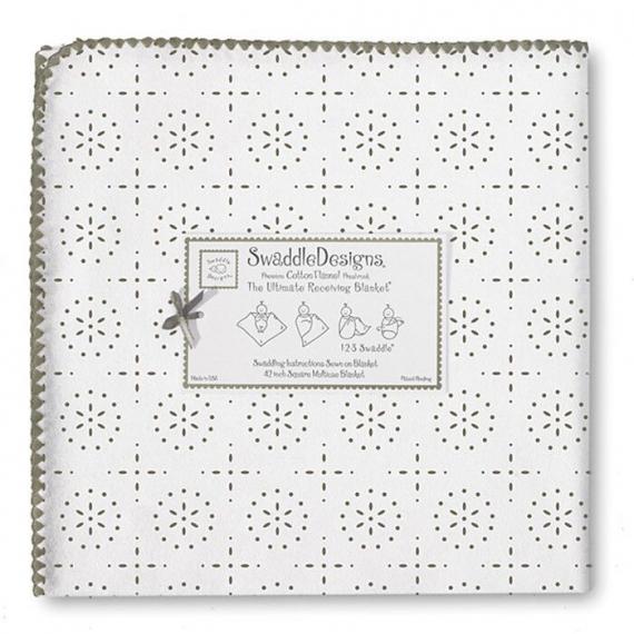 Фланелевая пеленка для новорожденного SwaddleDesigns TG Sparklers/WH
