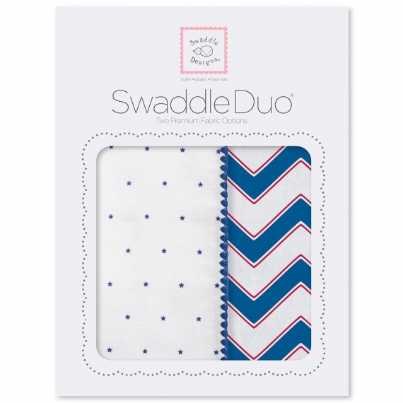 Набор пеленок SwaddleDesigns Swaddle Duo True Blue Chevron