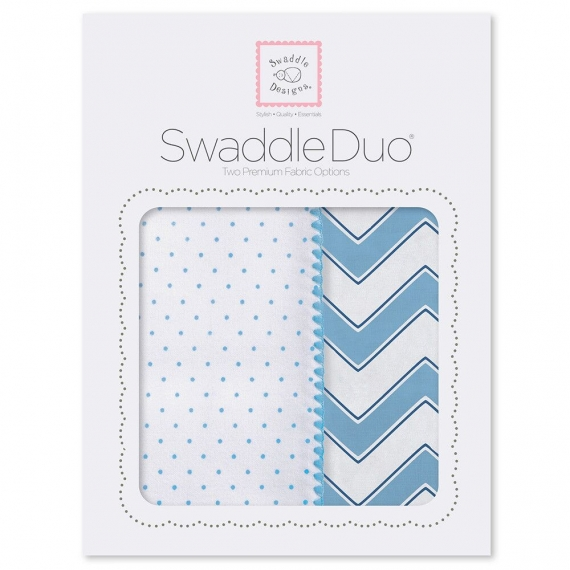 Набор пеленок SwaddleDesigns Swaddle Duo Blue Classic Chevron