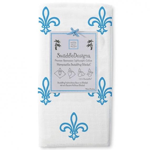 Пеленка детская тонкая SwaddleDesigns Маркизет Blue Fleur de Lis