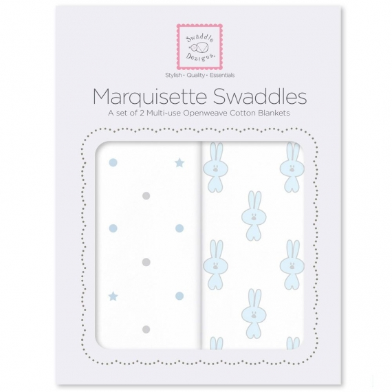 Наборы пеленок Marquisette 2-Pack Pstl Blue Little Bunnie & Dottie Star