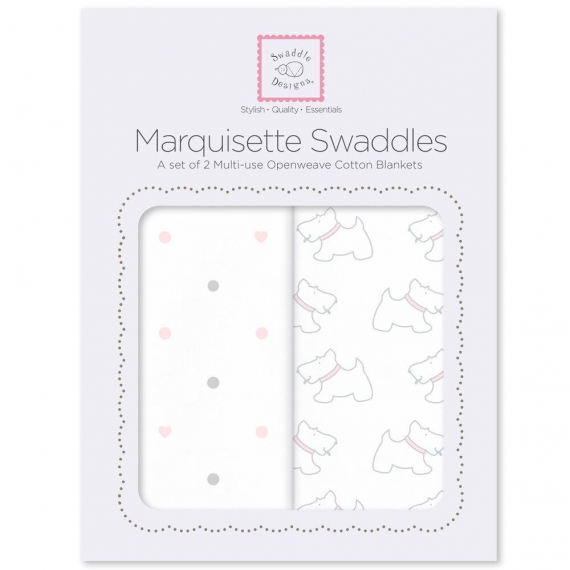 Наборы пеленок Marquisette 2-Pack Pstl Pink Little Doggie & Dottie Heart