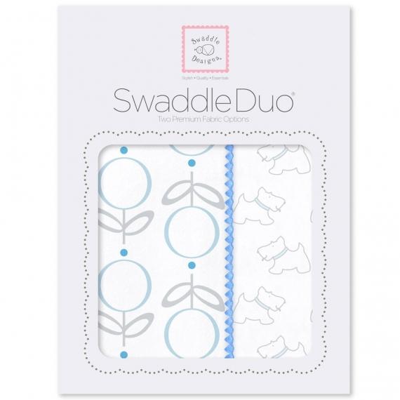 Набор пеленок SwaddleDesigns Swaddle Duo Blue Little Doggie