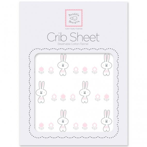 Простынь детская SwaddleDesigns Fitted Crib Sheet Pstl Pink Garden Bunnie