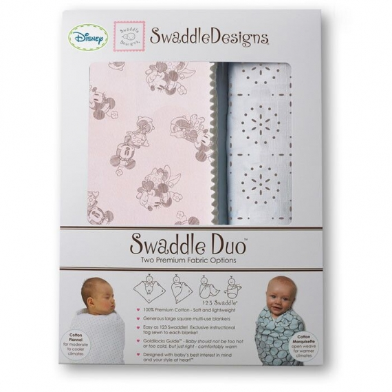 Набор пеленок SwaddleDesigns Swaddle Duo TG/PP Minnie