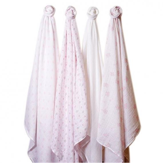 Набор муслиновых пеленок 4 шт. SwaddleDesigns Pink Butterflies& Posies
