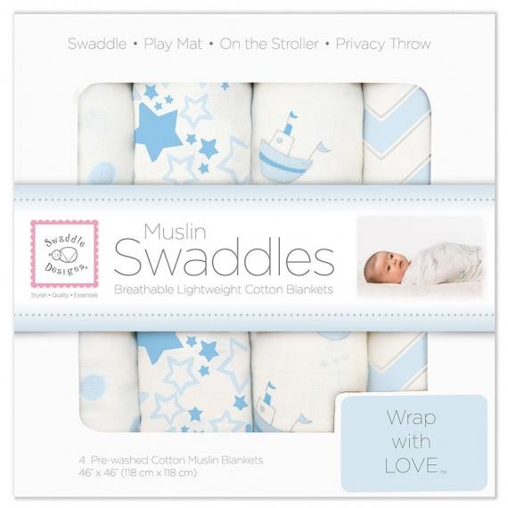 Набор муслиновых пеленок 4 шт. SwaddleDesigns Blue Little Ships