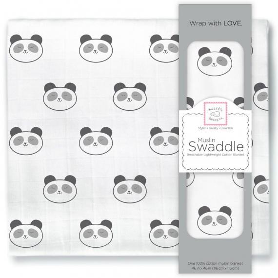 Пеленка муслиновая SwaddleDesigns Black Panda Face