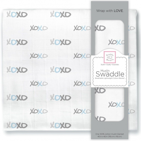 Пеленка муслиновая SwaddleDesigns Pstl Blue XOXO