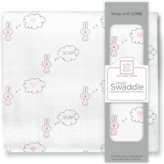 Пеленка муслиновая SwaddleDesigns Pstl Pink Bunnie Heart