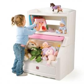 Комод для игрушек (с розовой крышкой)