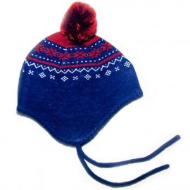 Шапочка на завязках синяя (размер 3-5 лет)
