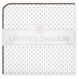 Фланелевая пеленка для новорожденного SwaddleDesigns Brown Polka Dot