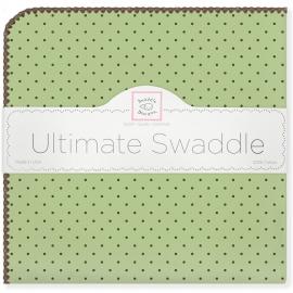 Фланелевая пеленка для новорожденного SwaddleDesigns Lime w/BR Dot