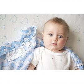 Пеленка детская тонкая SwaddleDesigns Маркизет Blue Mod on WH