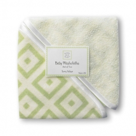 Детские мочалки SwaddleDesigns Washcloth set Kiwi w/BR Mod S