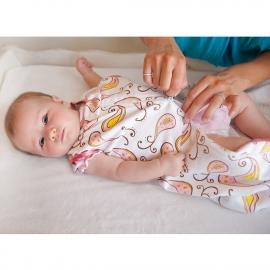 Спальный мешок для новорожденного SwaddleDesigns zzZipMe Sack 6-12M Flannel Pstl Blue Paisley