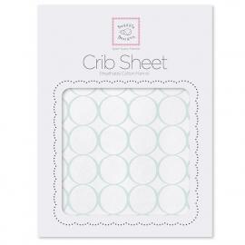 Простынь детская SwaddleDesigns Fitted Crib Sheet Mod Circles on White