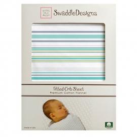 Простынь детская SwaddleDesigns Fitted Crib Sheet Turquoise Stripe