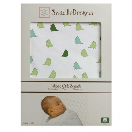 Простынь детская SwaddleDesigns Fitted Crib Sheet PG Lt. Chickies