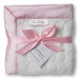 Плед детский SwaddleDesigns Stroller Blanket Ivory Puff w/Pink