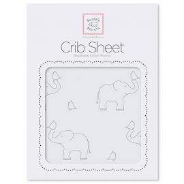 Простынь детская SwaddleDesigns Fitted Crib Sheet SB Sterling Deco Elephants