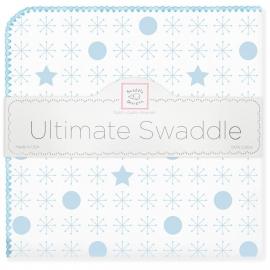 Пеленка фланель для новорожденного SwaddleDesigns Ultimate Jax & Stars Blue