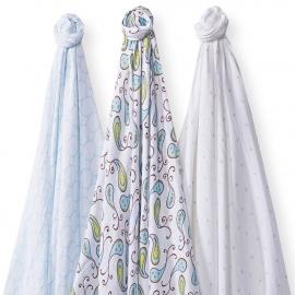 Набор пеленок SwaddleDesigns SwaddleLite Paisley Blue