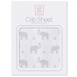 Простынь детская SwaddleDesigns Fitted Crib Sheet PB Elephant & Chickie