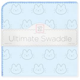Пеленка фланель для новорожденного SwaddleDesigns Ultimate Bonjour Bunnie Blue