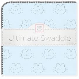 Пеленка фланель для новорожденного SwaddleDesigns Ultimate Bonjour Bunnie Pstl Blue