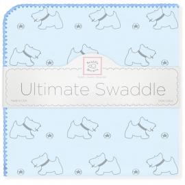 Пеленка фланель для новорожденного SwaddleDesigns Ultimate Gray Doggie Blue