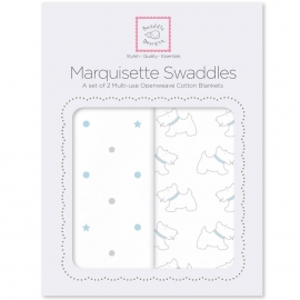 Наборы пеленок Marquisette 2-Pack Pstl Blue Little Doggie & Dottie Star