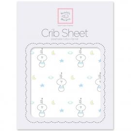 Простынь детская SwaddleDesigns Fitted Crib Sheet Pstl Blue Space Friend
