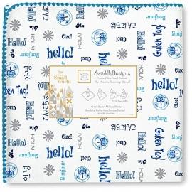 Фланелевая пеленка для новорожденного SwaddleDesigns Blue Hello SM
