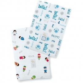 Полотенчики SwaddleDesign Marquisette Baby Burpie Marquisette Baby Burpie Disney It's a Small World - Hello! True Blue