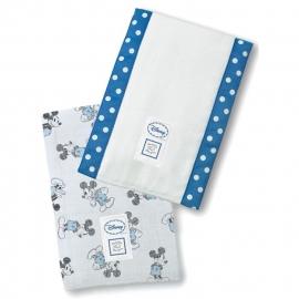 Полотенчики SwaddleDesign Marquisette Baby Burpie Marquisette Baby Burpie Gray + Blue Mickey with True Blue Trim
