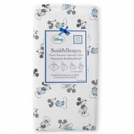 Пеленка детская тонкая SwaddleDesigns Маркизет Blue/Gray Mickey