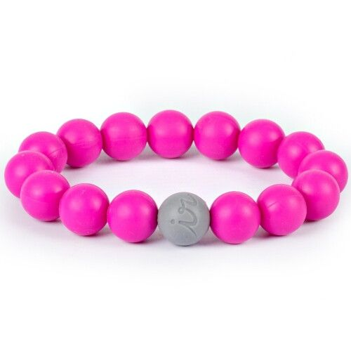 Силиконовый браслет Itzy Ritzy Round Bead Hot Pink