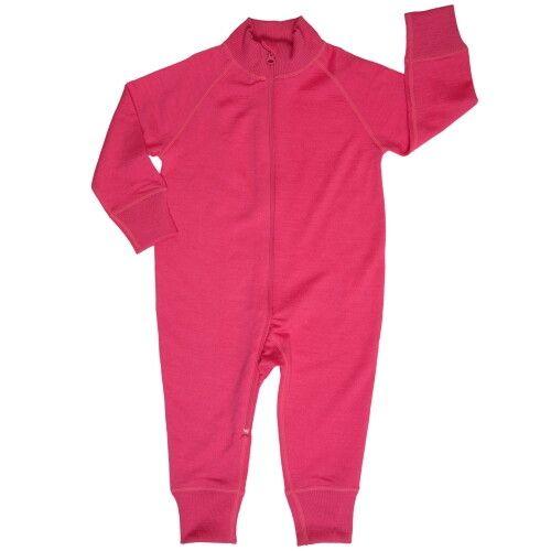 Комбинезон из шерсти мериноса на молнии ярко-розовый (размер 12-18 мес)