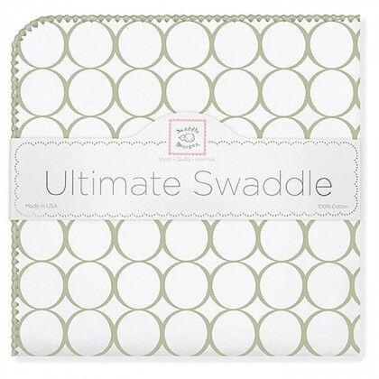 Фланелевая пеленка для новорожденного SwaddleDesigns Sage Mod on WH
