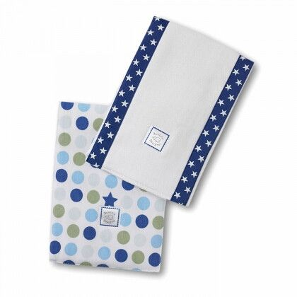 Полотенчики SwaddleDesign Baby Burpie Set Navy Dots & Suns
