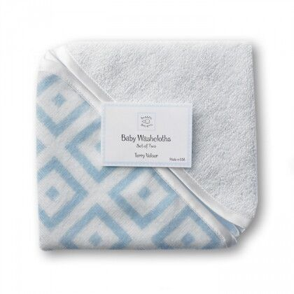 Детские мочалки SwaddleDesigns Washcloth set Blue w/BR Mod S