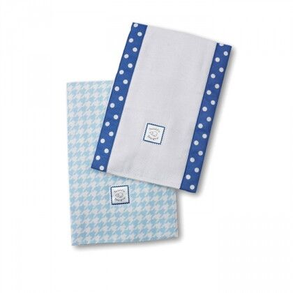Полотенчики SwaddleDesign Baby Burpie Set Blue Puppytooth