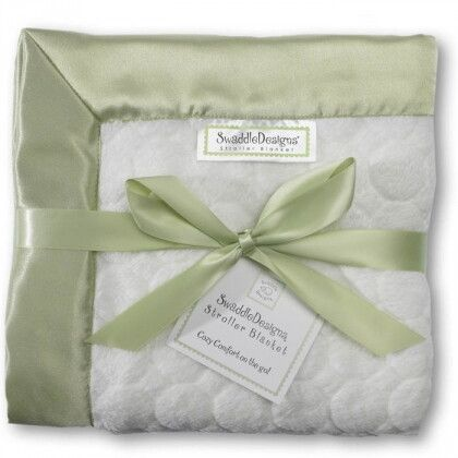 Плед детский SwaddleDesigns Stroller Blanket Ivory Puff w/Kiwi
