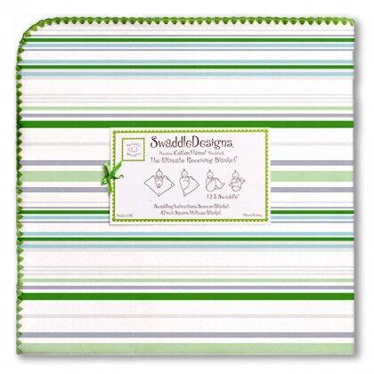 Пеленка фланель для новорожденного SwaddleDesigns Pure Green Stripe