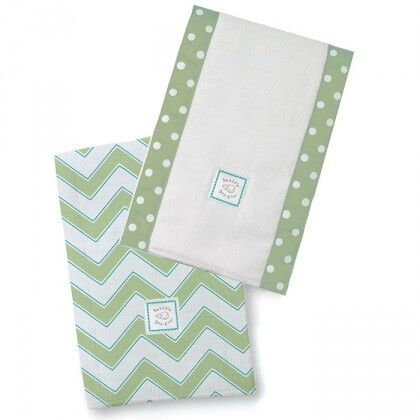 Полотенчики SwaddleDesigns Baby Burpie Set Kiwi/PG Trim Chevron